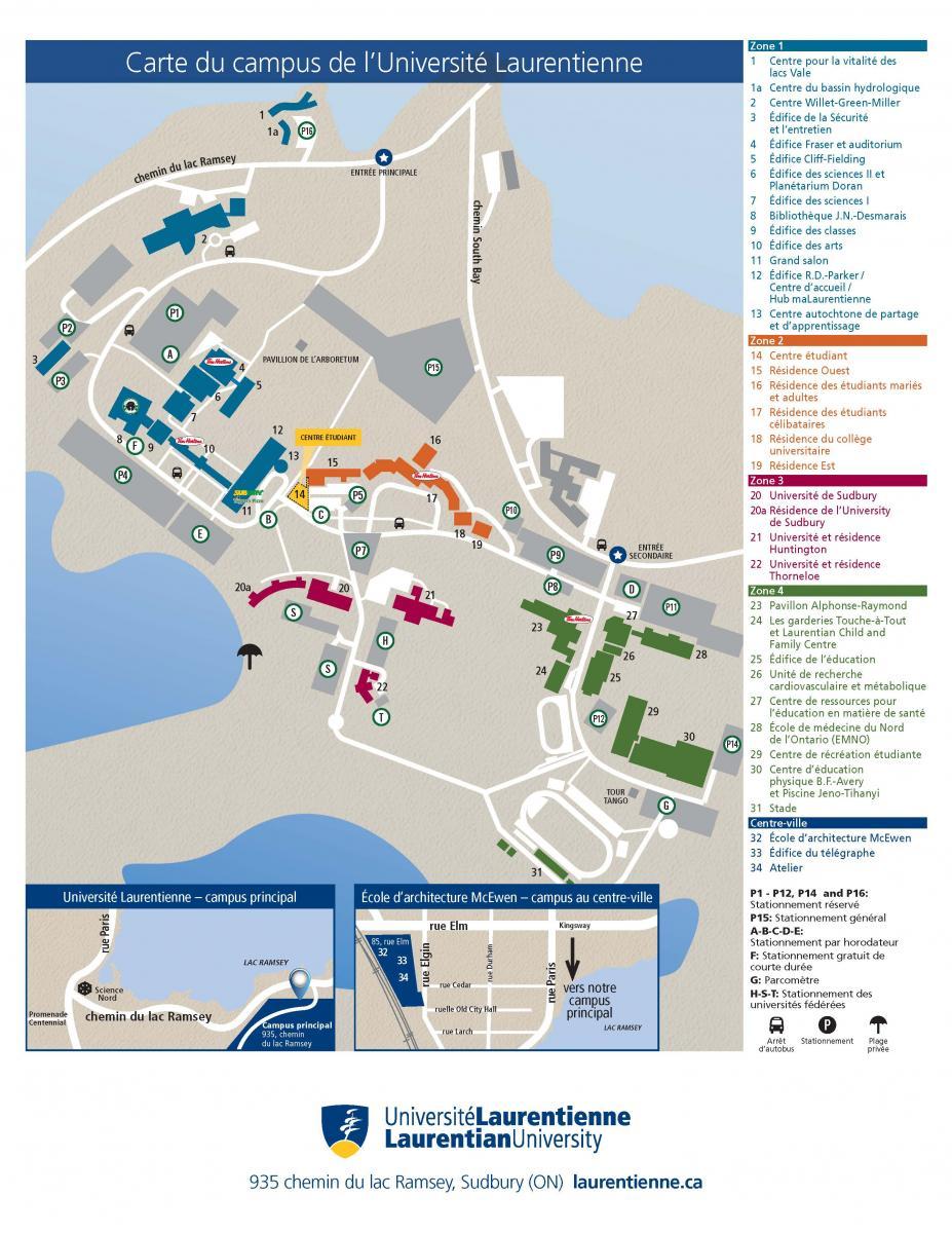 Laurentian University campus map