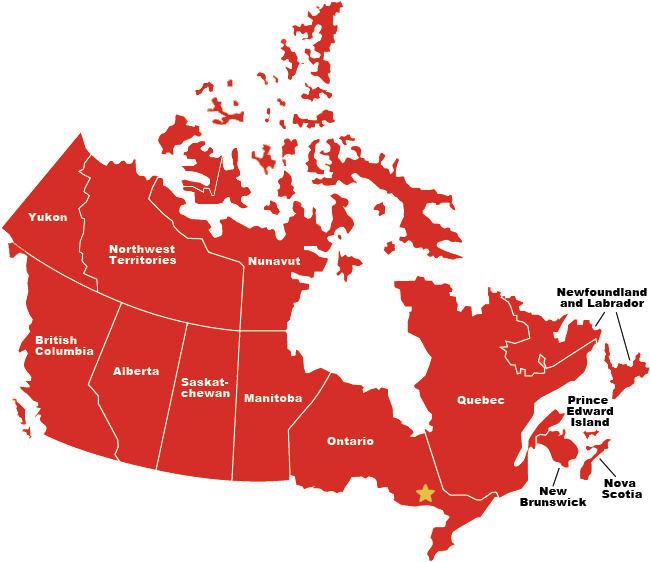 Map Of Canada In The World.Laurentian University International Students
