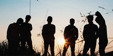 silhouette of 6 young children
